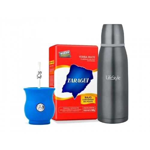 Pack Mate Sabio Calabaza Azul + Yerba Mate de 1/2 kilo Taragui + Termo LifeStyle de 500 ml